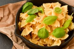 Farfalle. Close up of  Flavorful delicious   traditional italian meal pasta   farfalle with parmesan cheese   fresh basil and black pepper . Mediterranean food Stock Photography