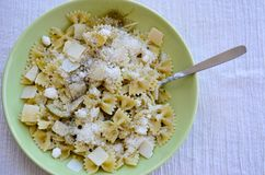 Farfalle. Close up of  Flavorful delicious   traditional italian meal pasta   farfalle with parmesan cheese . Mediterranean food concept Stock Photography