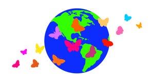Farfalle contro lo sfondo del pianeta Immagine Stock