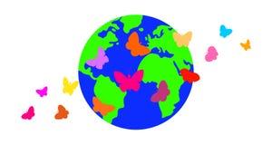 Farfalle contro lo sfondo del pianeta Immagini Stock Libere da Diritti