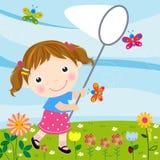 Farfalle di cattura della bambina Immagine Stock Libera da Diritti