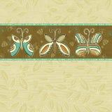 Farfalle di tiraggio della mano su priorità bassa beige Immagine Stock