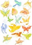 Farfalle differenti nello stile asiatico illustrazione di stock