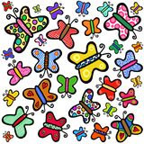 Farfalle disegnate a mano variopinte di scarabocchio Fotografie Stock Libere da Diritti
