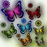 Farfalle e fiori Fotografie Stock Libere da Diritti