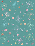 Farfalle e fiori Immagine Stock