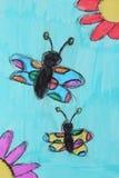 Farfalle e fiori Disegno divertente del ` s del bambino con gli indicatori luminosi illustrazione di stock