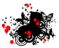 Farfalle e fiori rossi Fotografie Stock