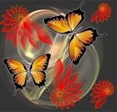 Farfalle e fiori sul fondo di frattale Fotografia Stock