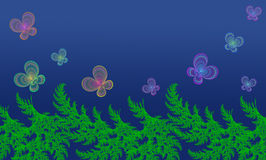 Farfalle e pianta verde su un fondo blu Immagini Stock Libere da Diritti