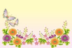 Farfalle e stile fiore-giapponese illustrazione di stock