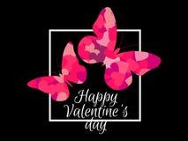 Farfalle e struttura felici di giorno del ` s del biglietto di S. Valentino Fondo festivo per la cartolina d'auguri, l'insegna ed Immagine Stock Libera da Diritti