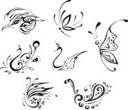 Farfalle ed uccelli stilizzati Fotografia Stock Libera da Diritti