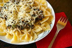 Farfalle With Eggplant Sause Stock Photography