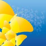 Farfalle gialle astratte di vettore su fondo blu Fotografia Stock