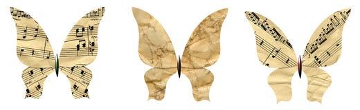 Farfalle impostate fatte di vecchio documento Fotografie Stock Libere da Diritti
