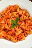 Farfalle mit Tomate und Garnelen Lizenzfreies Stockbild