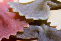 Farfalle Multicoloured Pasta Royalty Free Stock Photos