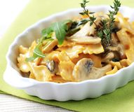 Farfalle with mushrooms Royalty Free Stock Photography