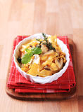 Farfalle with mushrooms, saffron and cream Royalty Free Stock Photos