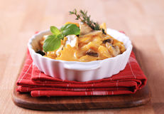 Farfalle with mushrooms, saffron and cream Stock Image