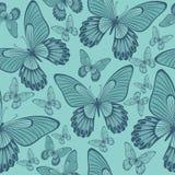 Farfalle nel corallo e nel modello senza cuciture di Backround di verde di Turqoisel fotografia stock