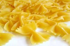 Farfalle pasta. Uncooked farfalle pasta stock photography