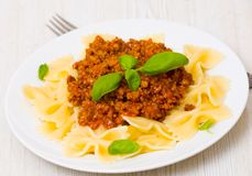 Farfalle pasta with bolognese sauce Royalty Free Stock Images