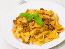 Farfalle pasta with bolognese sauce Stock Image