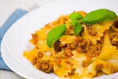 Farfalle pasta with bolognese sauce Royalty Free Stock Photos