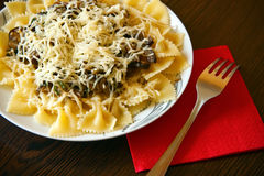 Farfalle Pasta With Cheese Stock Image