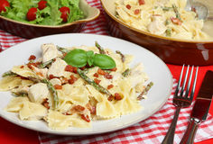 Farfalle Pasta with Chicken and Asparagus. Farfalle pasta with chicken, asparagus and pancetta in a cream sauce Royalty Free Stock Image