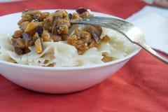 Farfalle Pasta - with eggplants on white bowl Stock Photos