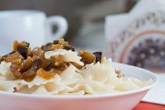 Farfalle Pasta - with eggplants on white bowl Stock Photography