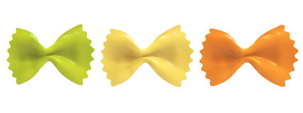 Farfalle pasta, isolated, three colors. Stock Images