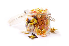 Farfalle pasta in a jar Stock Images