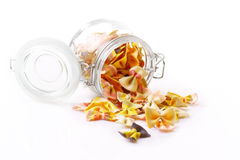 Farfalle pasta in a jar Royalty Free Stock Photography
