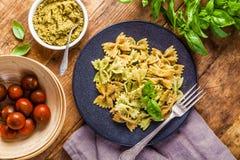 Farfalle pasta with pesto Royalty Free Stock Photography