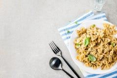 Farfalle pasta with pesto sauce Royalty Free Stock Photo