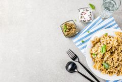 Farfalle pasta with pesto sauce Royalty Free Stock Photography
