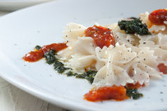 Farfalle Pasta with pesto and tomato sauce on white plate Royalty Free Stock Photography