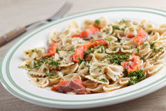 Farfalle pasta with salmon and dill Stock Images
