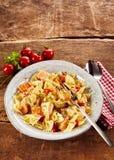 Farfalle pasta with salmon Royalty Free Stock Photo