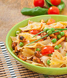 Farfalle pasta with seafood Royalty Free Stock Photos