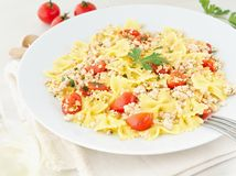farfalle pasta with tomatoes, chiken meat, parsley on white stone background, low-calorie diet, side view stock photography