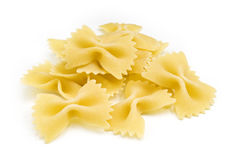 Farfalle pasta on white Stock Photos