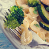 Farfalle pasta with zucchini and broccoli Stock Photography