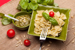 Farfalle With Pesto stock photos