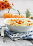 Farfalle with pumpkin and parmesan Stock Photos