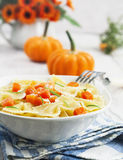 Farfalle with pumpkin and parmesan Royalty Free Stock Photo